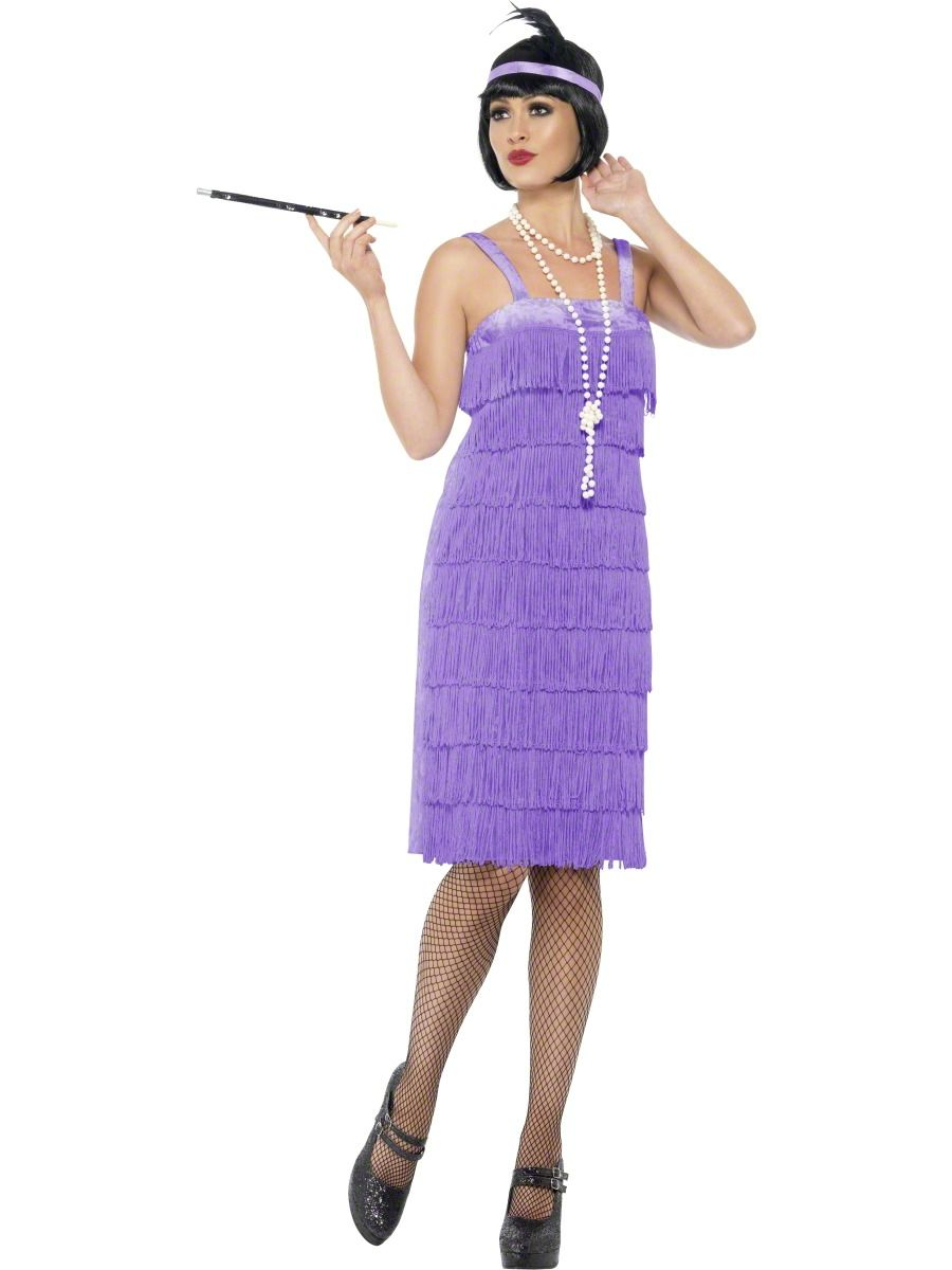 5b67b82ebc10 Jazz things up at your next fancy dress party with this roaring 20 s purple  flapper costume