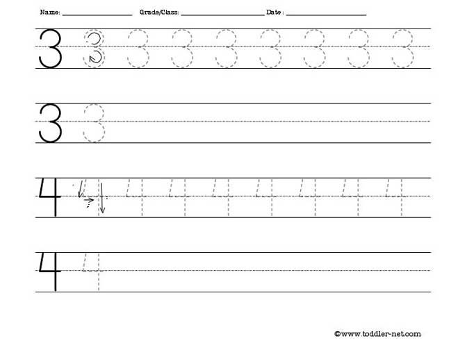 Tracing Numbers 3 And 4 Worksheet Kindergarten Math