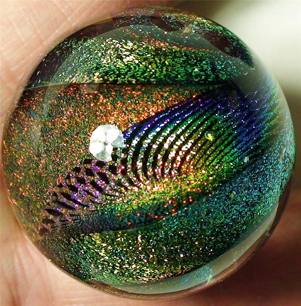 """Dichroic, Glass Marble, """"Forget Me Knot"""" Corkscrew"""