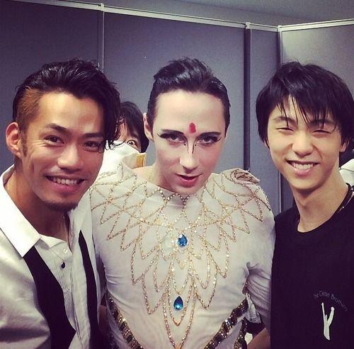 From left to right: Daisuke Takahashi, Johnny Weir, and Yuzuru Hanyu