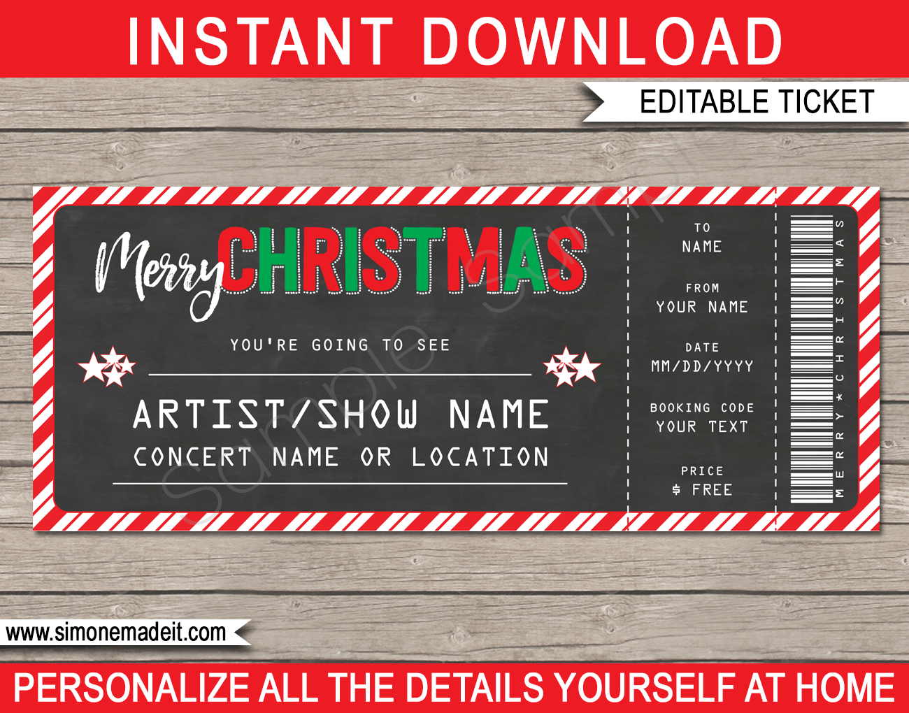 christmas gift concert ticket template red green chalkboard