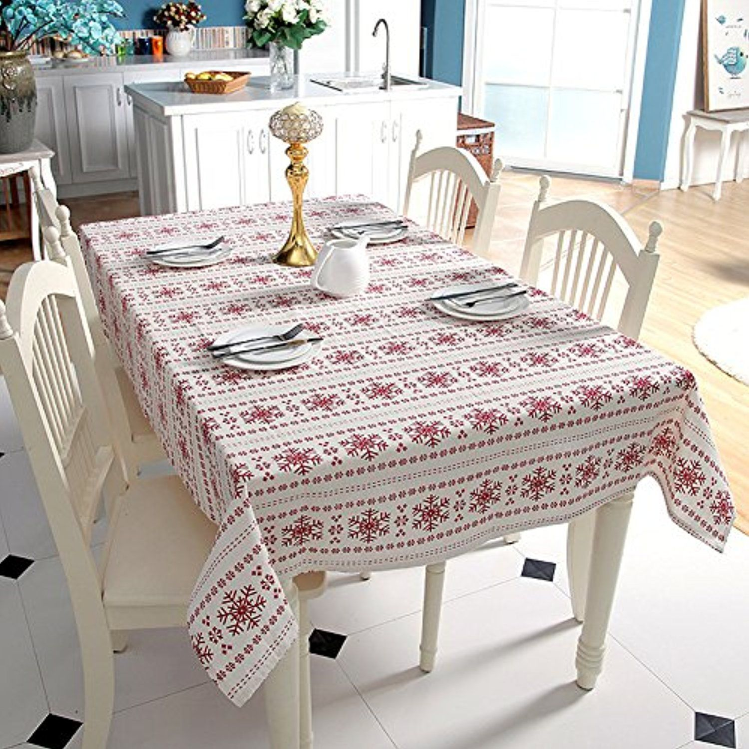 Christmas Red Snowflake Tablecloth Rectangle Table Cover For Dinner Picnic Home Decor Assorted Size 55 Christmas Table Cloth Dining Table Cloth Christmas Table