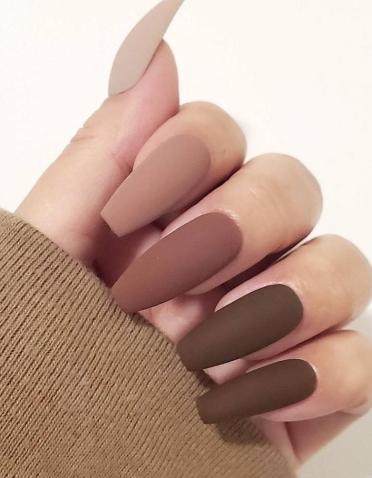 Matte Press on nails/fall nails/brown tips/nude na