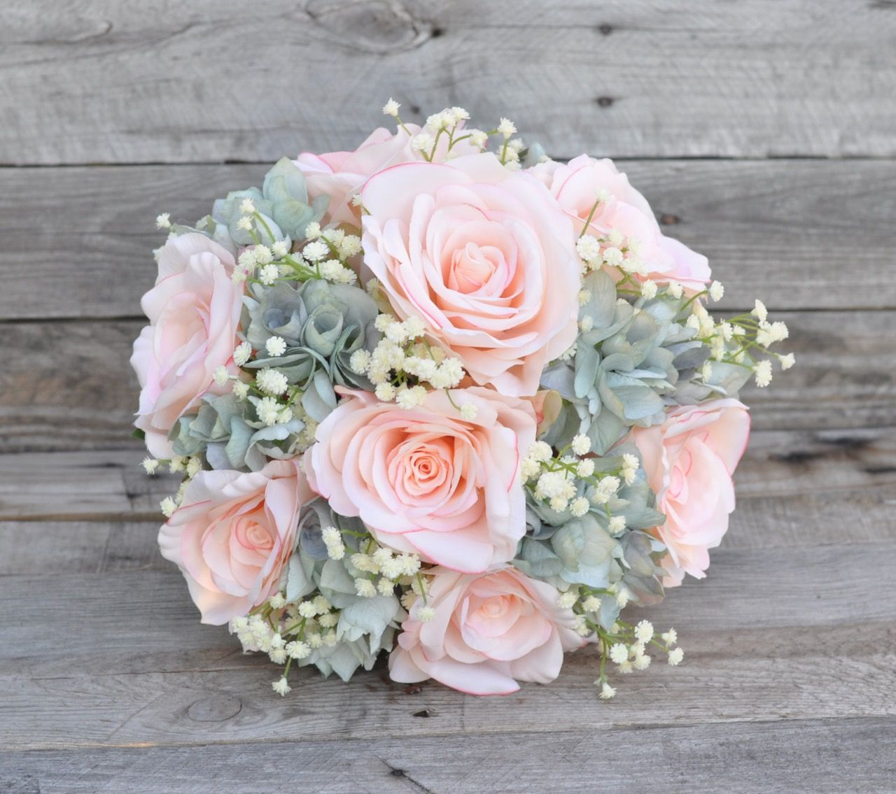 Coastal vintage inspired silk wedding bouquet made with peach roses
