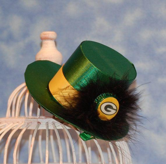 fb3f57d5 Green Bay Packer Mini Top Hat Fascinator. $18.00, via Etsy. | Green ...