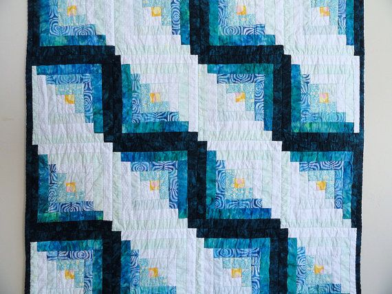 Throw Quilt Blue Turquoise and White Lap Quilt, Log Cabin Quilt by TheDancingQuilt on Etsy