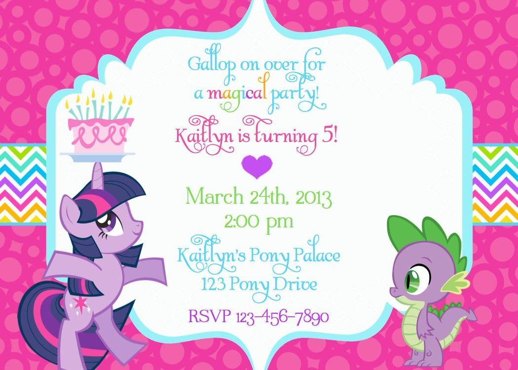 My Little Pony Birthday Invitation Wording