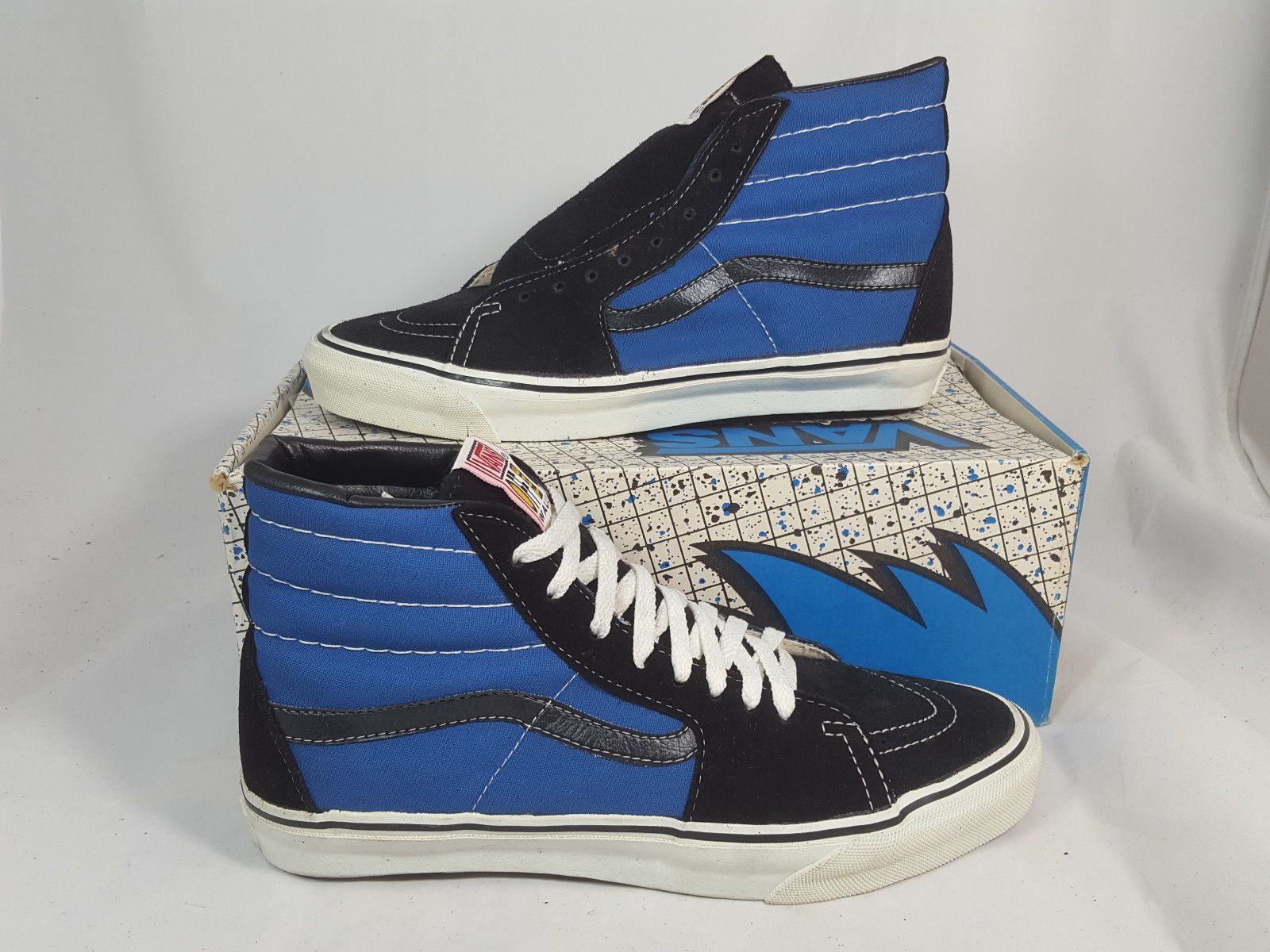 db2e1064db Vintage Vans shoes SK8 HI BLACK BLUE made in USA Men s Size 10.5 NOS Old  Skool
