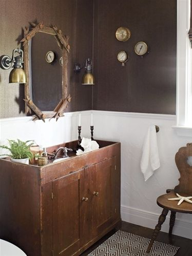 Wonderful Ultra Rustic Bathroom (© Virginia Macdonald) Design