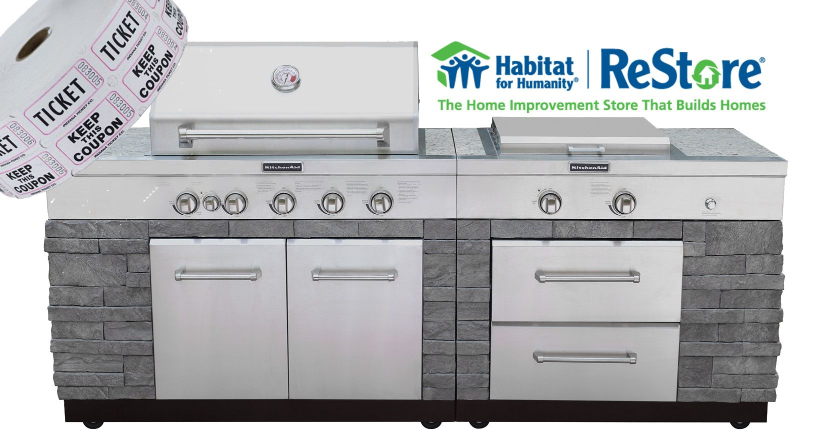 Join Habitat For Humanity Of Orange County In Our Fundraiser Raffle Of This Beautiful Outdoor Kitchenaid Grill Island Jan Outdoor Kitchen Kitchen Aid Grilling
