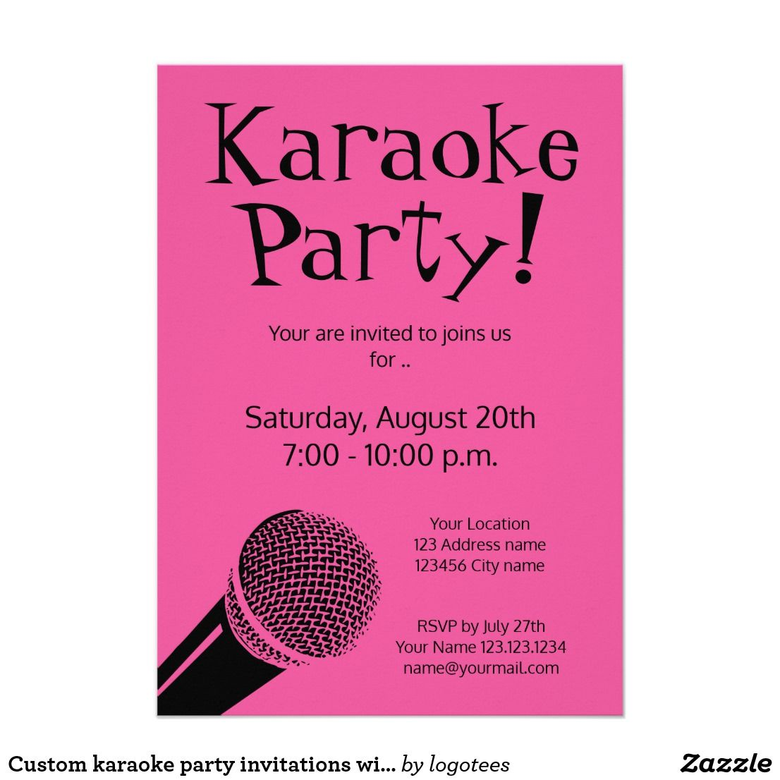 Custom karaoke party invitations with microphone | Bachelorette ...