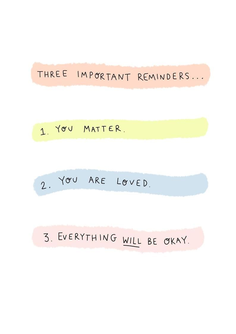 Reminders Loved Everything Okay Card | A6 | Mental