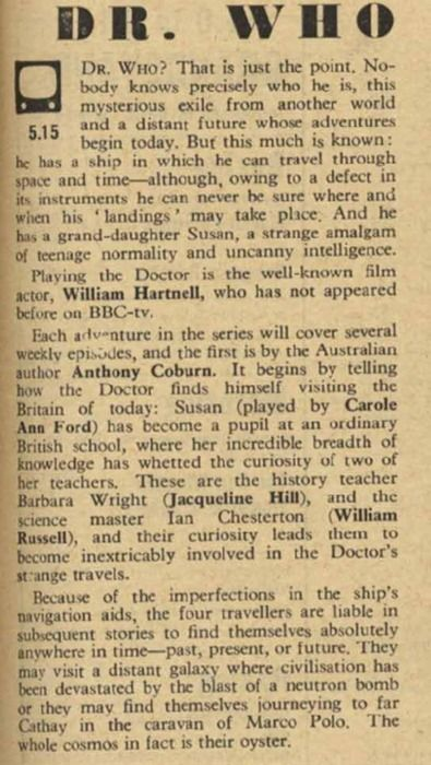 Review of the first episode of Doctor Who - November 23, 1963. WOW!