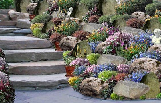 stein dekoration mit kleinen pflanzen im garten - 53 erstaunliche - ideen gestaltung steingarten hang