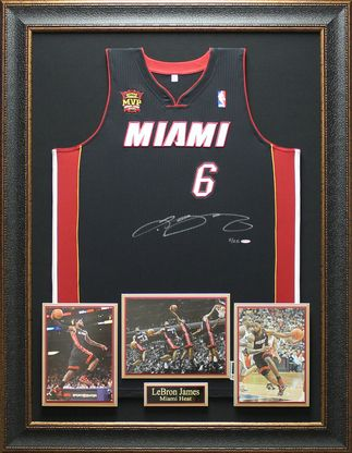 LEBRON JAMES Autographed MVP Patch Miami Heat Jersey Framed ... 691871e96