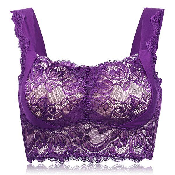 ff5e08e3c2e1f Women Comfy Seamless Sexy Lace Bra Wireless No Rims Full Cup Vest Bras at  Banggood