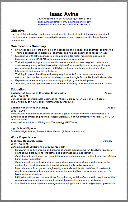 Academic Resume Examples Technical Research Resume Example Isaac Avina 2320 Academic Pl Se