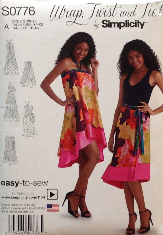 Simplicity 1164 Womens Double Layer Wrap Dress and Skirt Sewing Pattern Sizes XS-XL