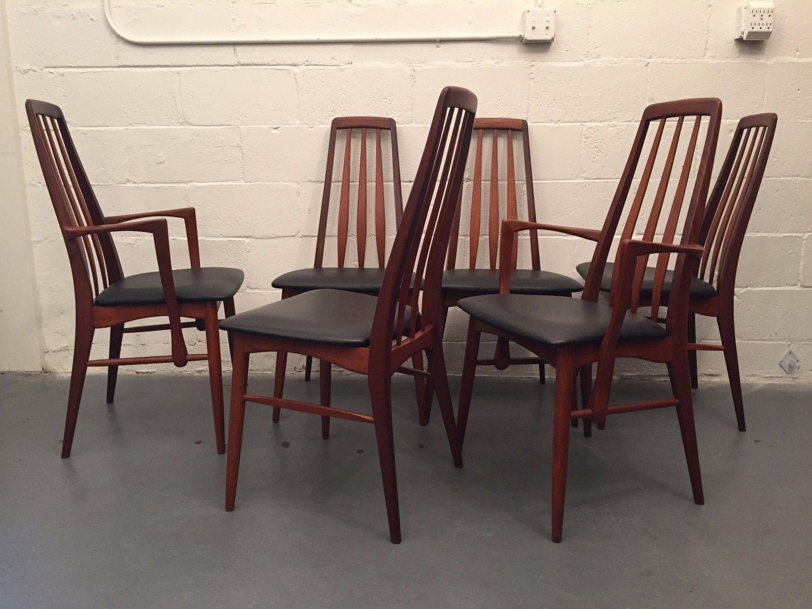 Mid Century Danish Modern Dining Chairs Koefoeds Hornslet Eva Teak