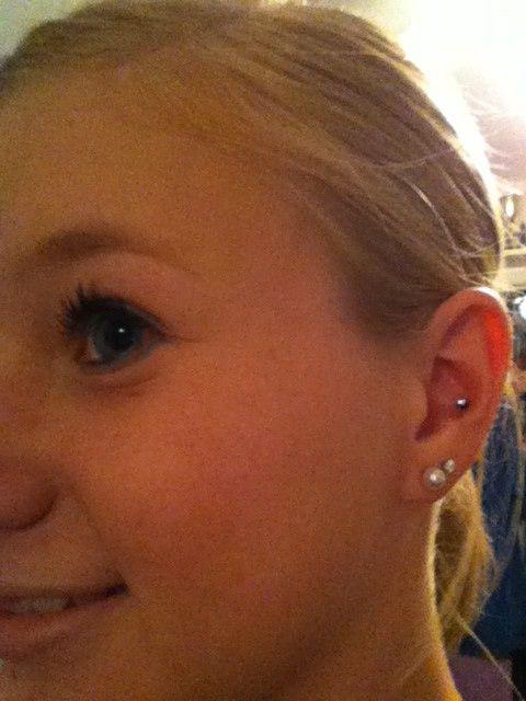 Piercings <3 2 holes in each lobe and inner conch in left ear