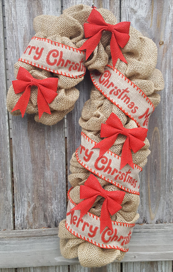 this christmas candy cane burlap wreath is made with burlap red burlap bows and christmas ribbon it measures approximately 22 inches long and 12 inches - Burlap Christmas Ribbon