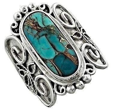 Himalayan Gems Copper Turquoise Sterling Silver Ring  - I've learned to like turquoise over the years