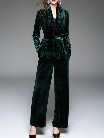 Dark Green Tie Waist Velvet Top With Pants Fall Winter