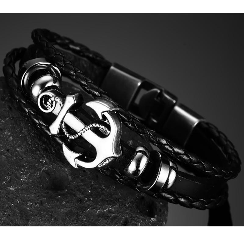 Multilayer Stainless Steel Anchor Bracelet With Images Leather Anchor Bracelet Leather Charm Bracelets