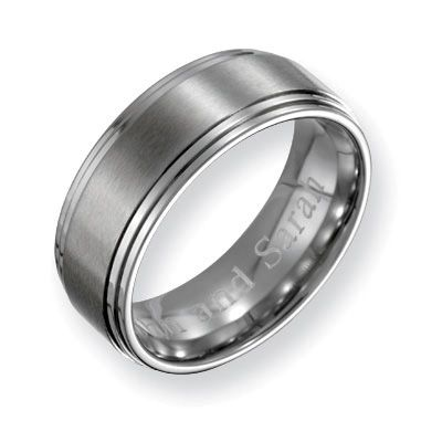 mens 80mm engraved stainless steel wedding band 27 characters zales i like - Zales Mens Wedding Rings