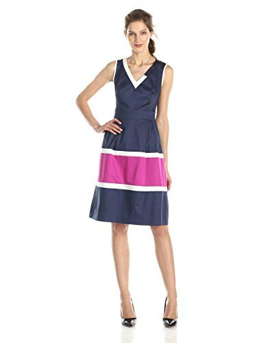 Anne Klein Women's Assymetric Neck Colorblocked Fit and Flare Dress, Cadet, 2 Anne Klein