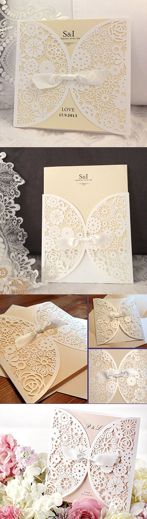 DIY Laser Cut Lace Vintage Flower Wedding Invitation Template Invite ...