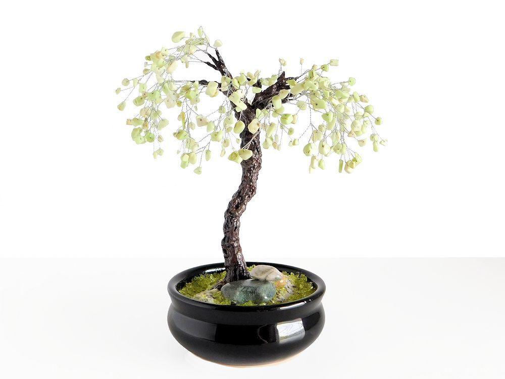 23cm Chrysoprase Bonsai Tree in Black Cramic pot. Handmade Feng Shui Gemstone Tree. Artificial Bonsai. Wedding Centerpiece Office Home Decor by BeadedGardenCanada on Etsy