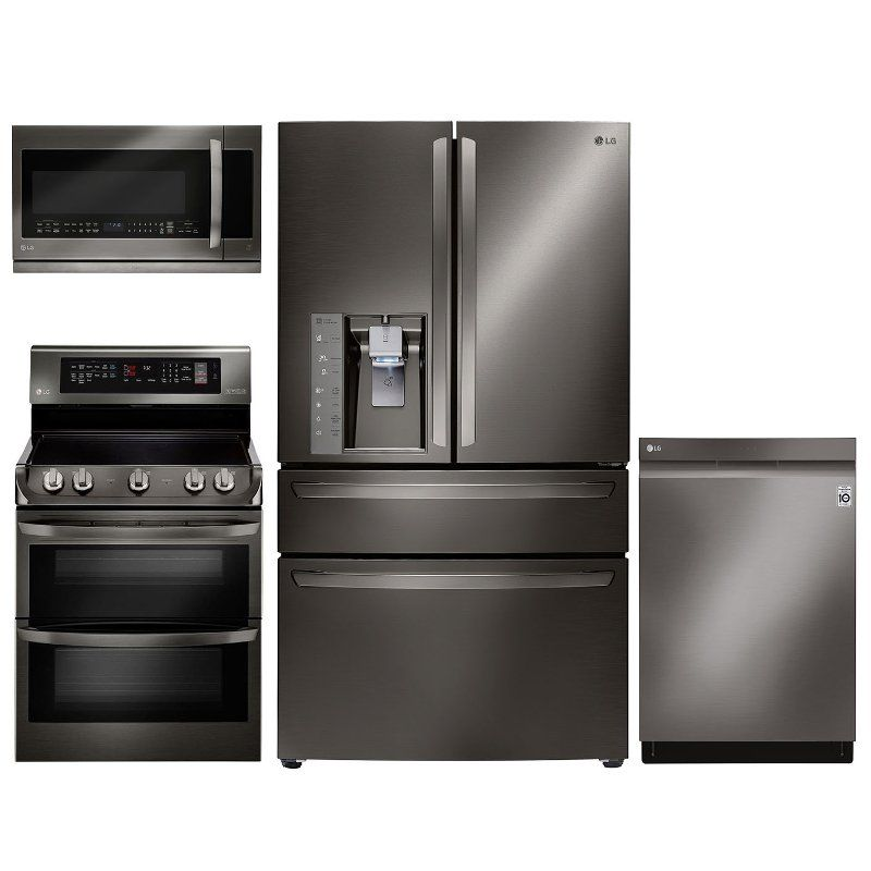 Lg 4 Piece Electric Kitchen Appliance Package With 23 5 Cu Ft Refrigerator Black Stainless Steel Kitchen Appliance Packages Kitchen Appliances Kitchen