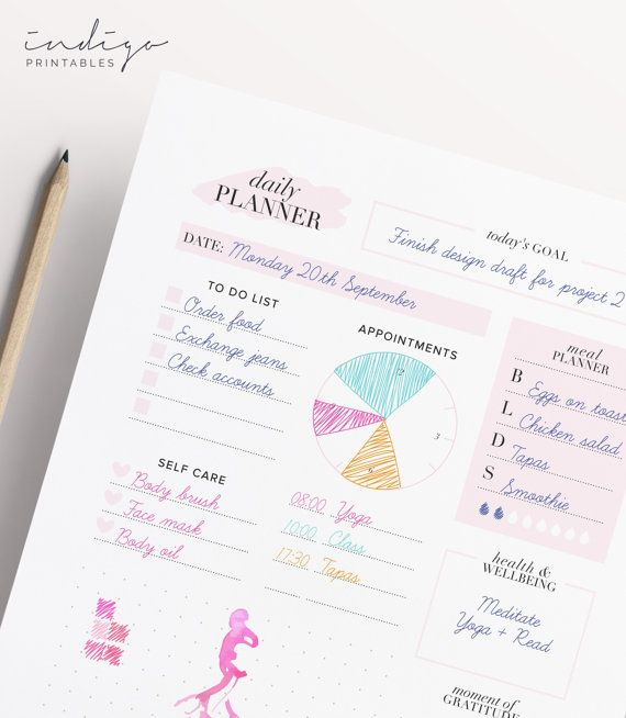 Daily Planner Printable Planner Daily Agenda Day Planner Daily