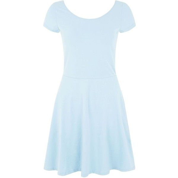 e0978cda23 Light Blue Cap Sleeve Skater Dress ( 11) ❤ liked on Polyvore ...