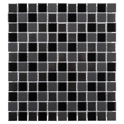 Merola Tile Trinity Black 11 3 4 In X 12 3 4 In X 5 Mm Porcelain Mosaic Tile 10 62 Sq Ft Case Black Silver Gray Mixed Finish Mosaic Tiles Tiles Mosaic