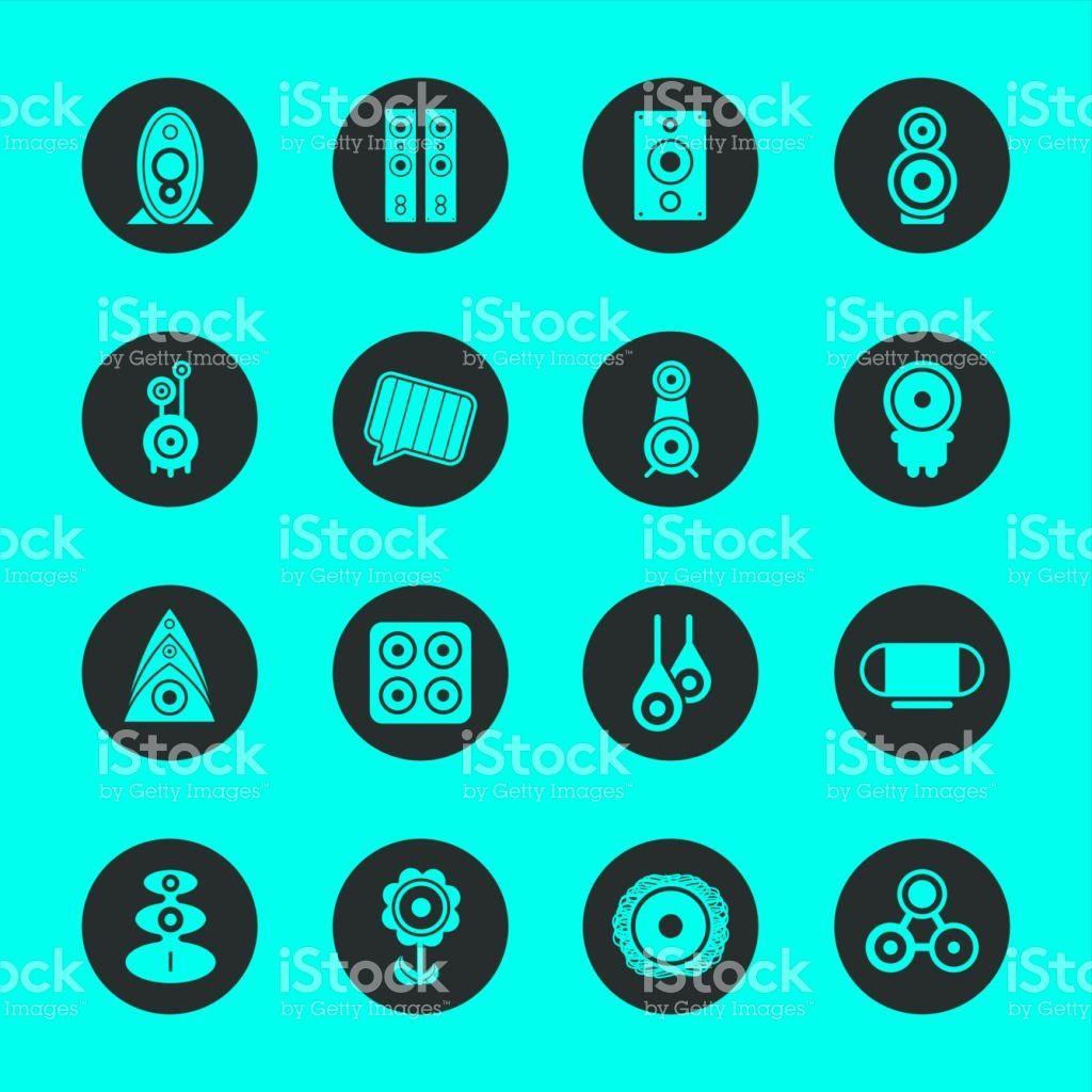 Loudspeaker Design Icons Black Circle Series Vector EPS File ...