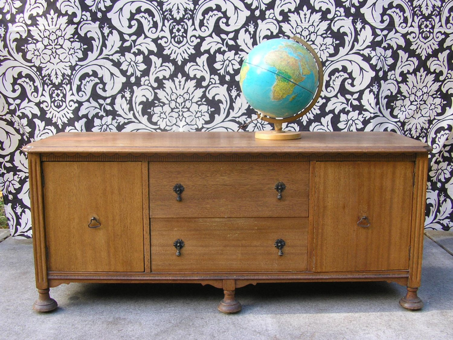 Low Storage Cabinet Vintage Buffet 1930s Antique Credenza Long Low Storage Cabinet Tv