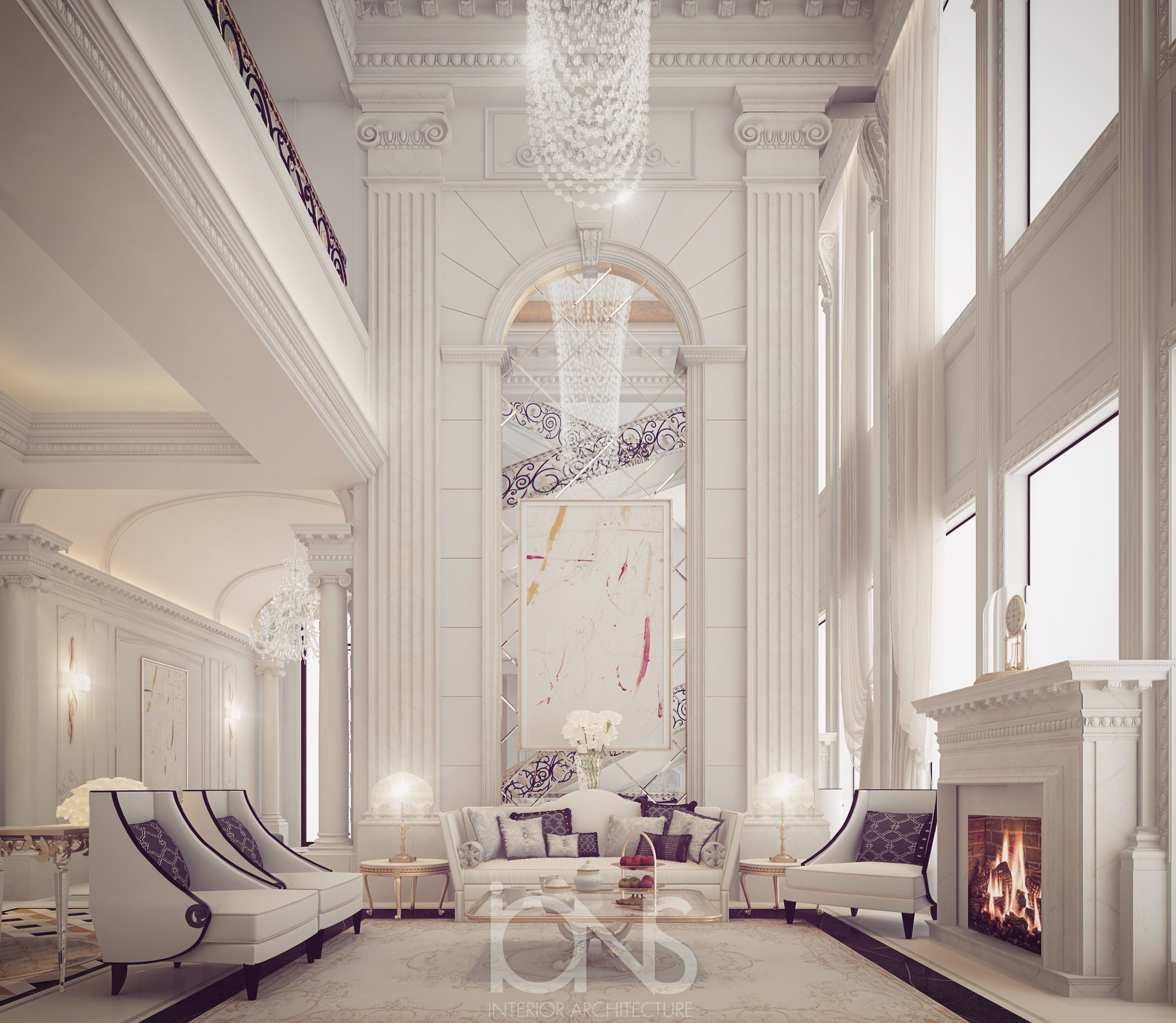 Fireplace lounge design private palace doha qatar for Interior design qatar