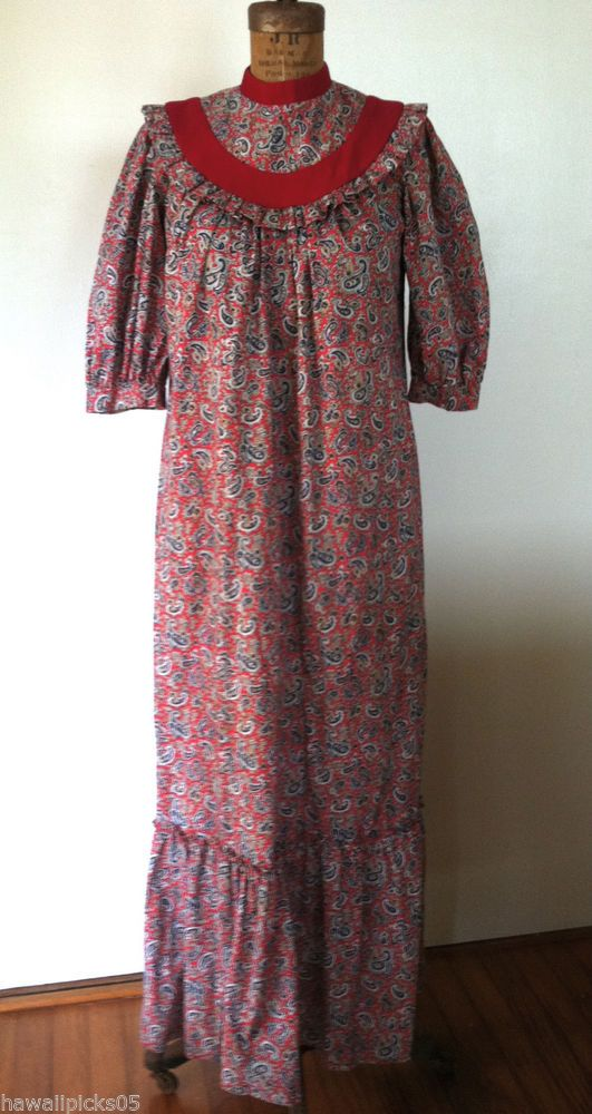 Liberty House LOLA Hawaiian Muumuu Paisley Print Fabric Velvet Trim Costume #LibertyHouse #HawaiianMuumuu