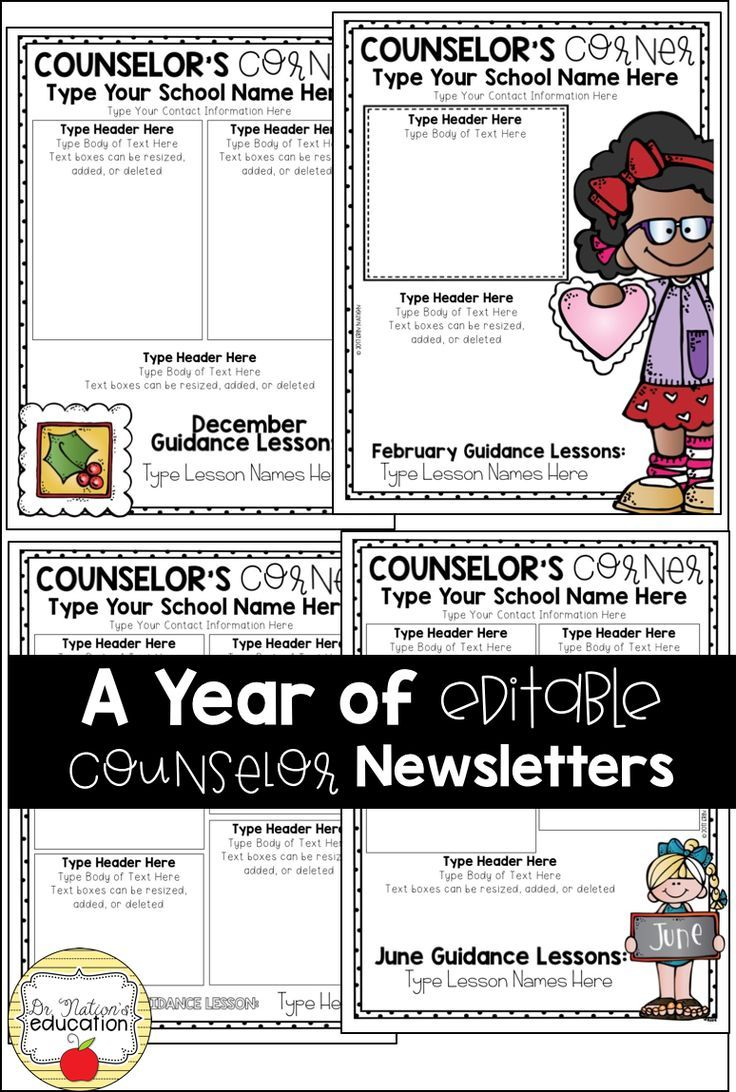 Editable School Counselor Newsletter templates | Monthly newsletter ...