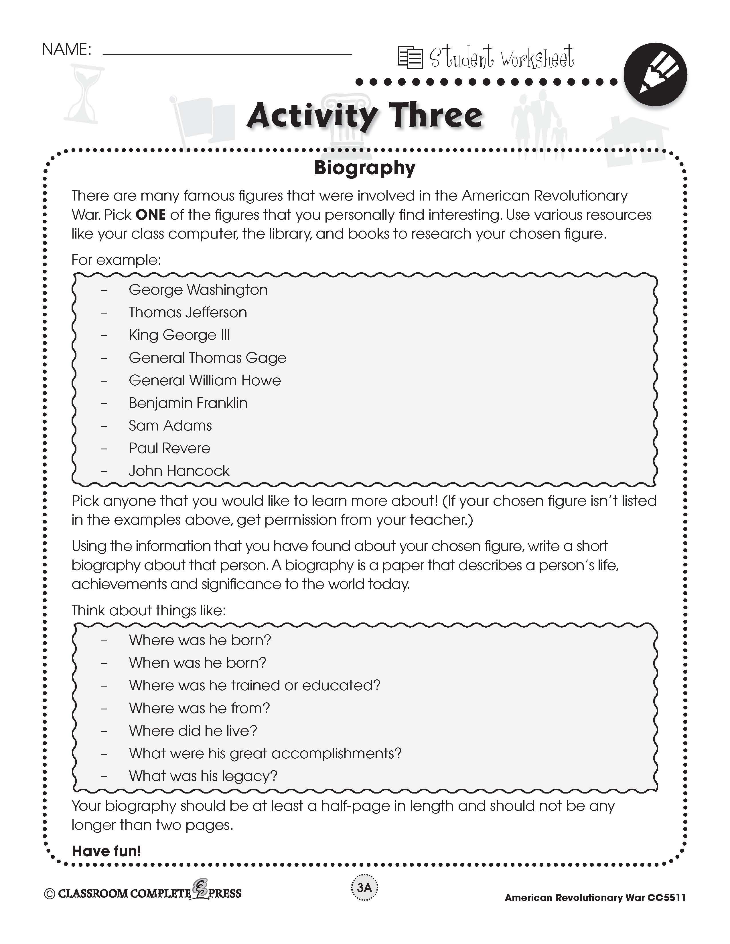 Write A Biography Of A Key Figure In The Revolutionary War In This Free Activity From Ccp Interactive A Di Writing A Biography Social Studies Military History