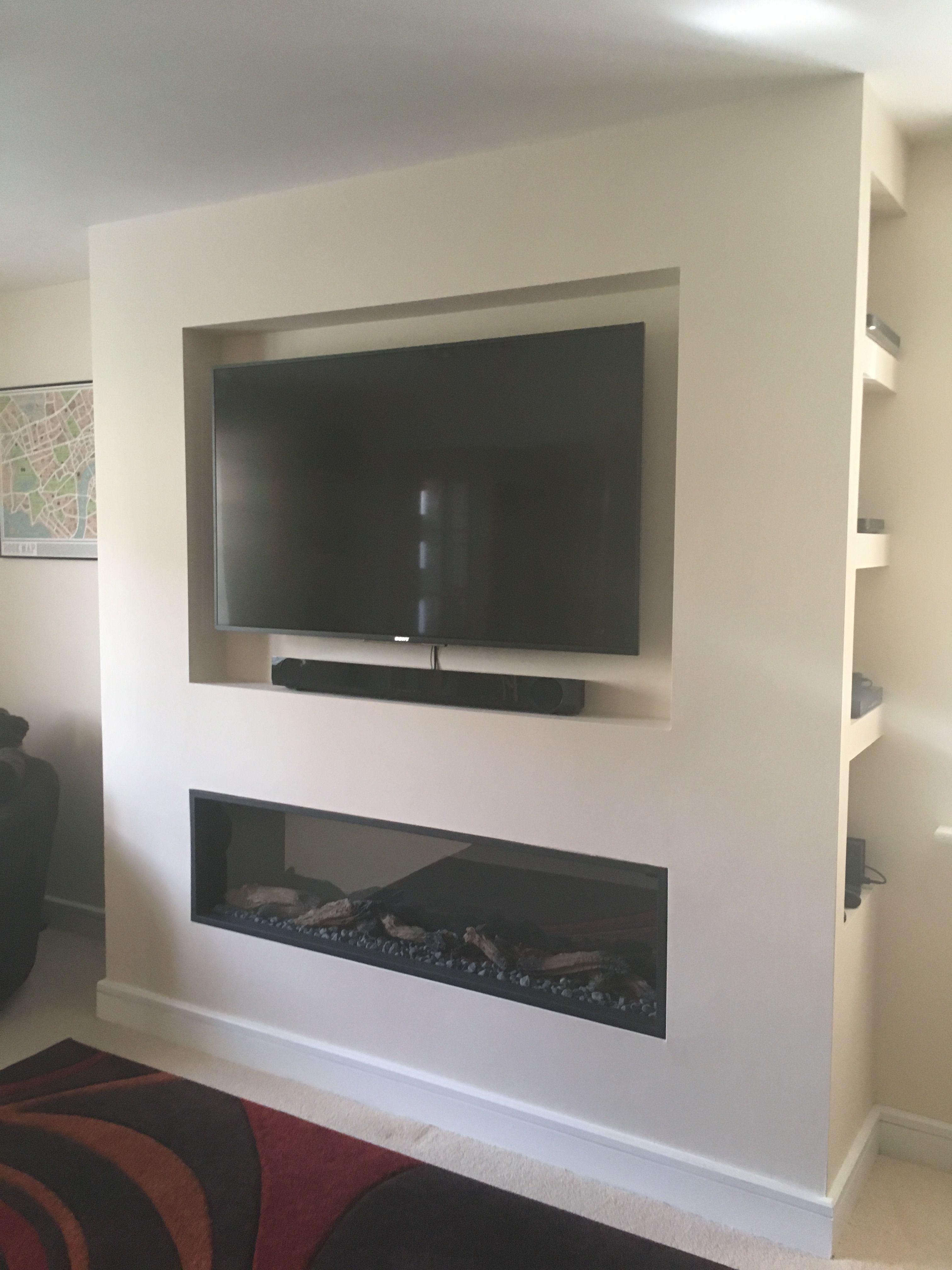 Meuble Tv Avec Barre De Son fixé au mur, télévision encastrée, barre de son, foyer