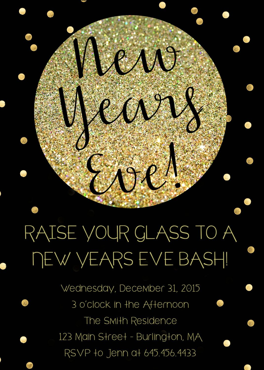 new years eve party invitation in black and gold glitter printable by pixelperfectinvites on etsy