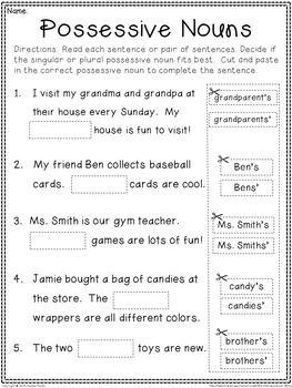 Pin On Possessive S Singular possessive noun worksheets 4th