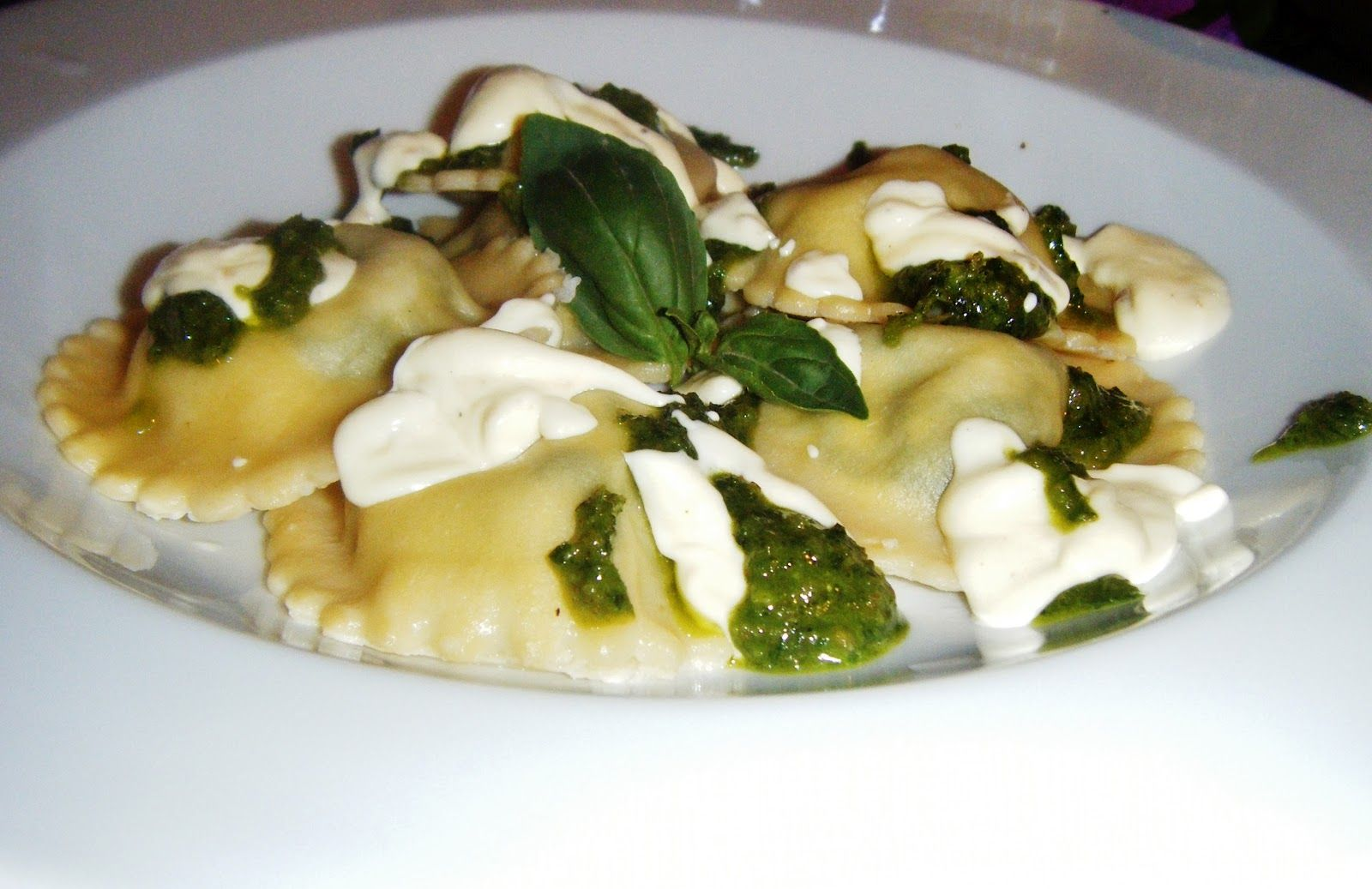 the Best Recipes: Spinach and Goats Cheese Ravioli with Walnut Pesto and a Cream Sauce