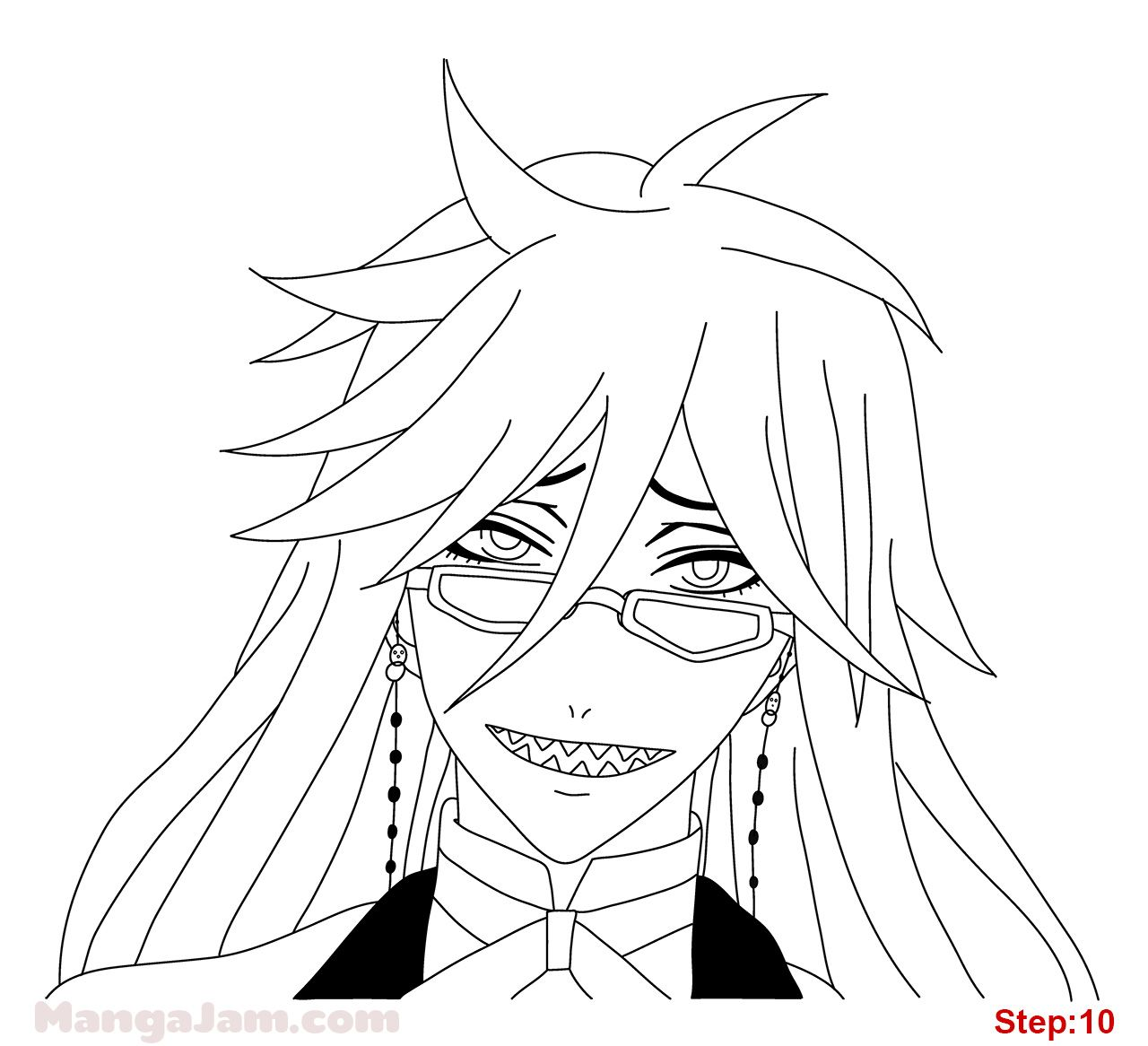 How To Draw Grell From Kuroshitsuji Step 10 Drawings Draw Cool Sketches