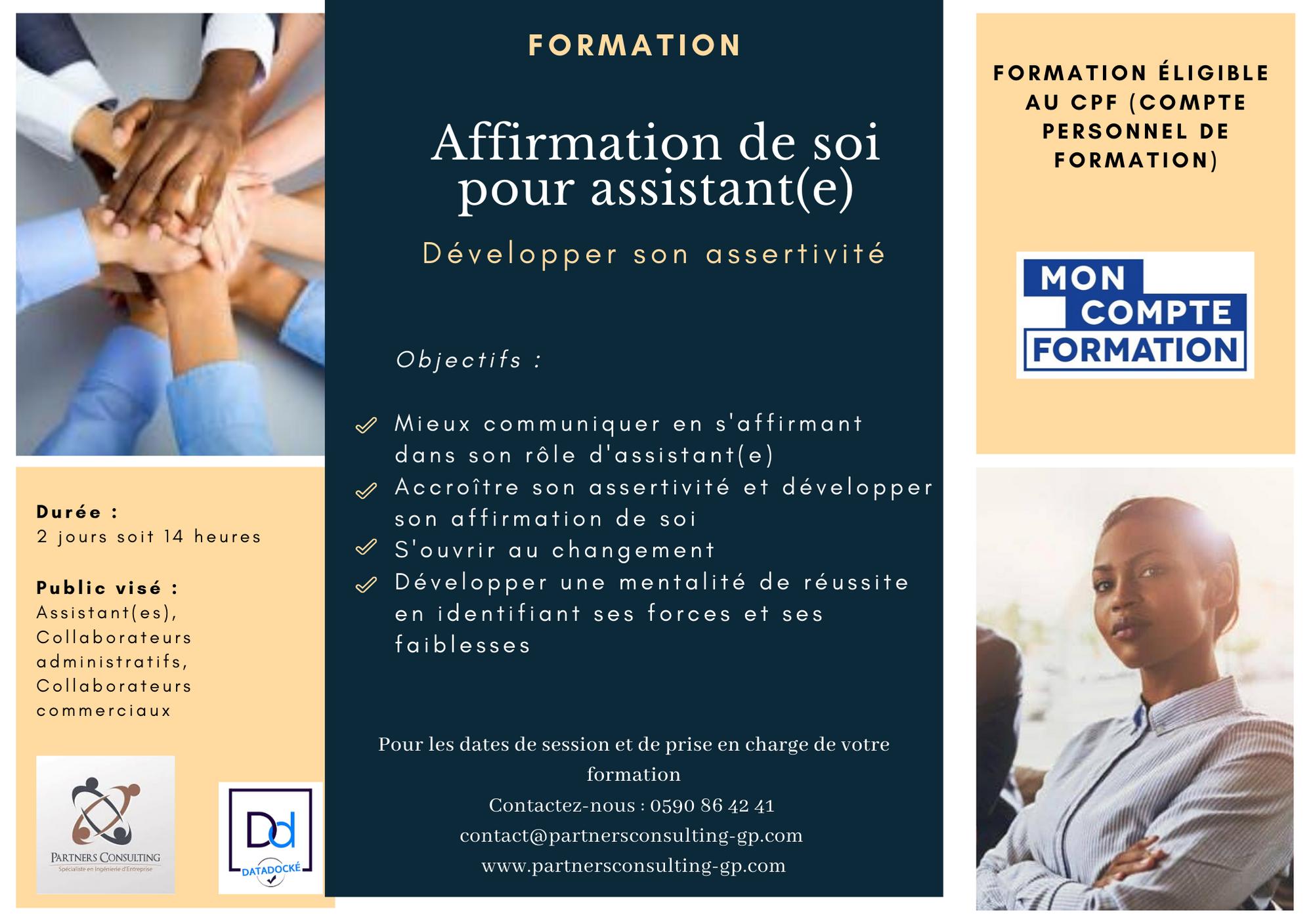 Formation Affirmation De Soi Pour Assistant E Compte Personnel De Formation Assistante Administrative Assistante