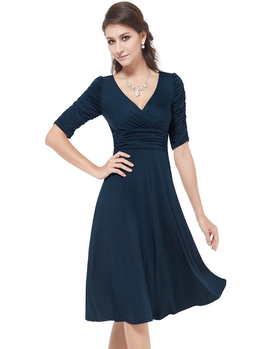 Ever Pretty 3 4 Sleeve Ruched Waist Classy V Neck Casual Cocktail Dress 03632 At Amazon Women S Cloth Casual Cocktail Dress Short Dresses Casual Casual Dresses [ 1117 x 850 Pixel ]