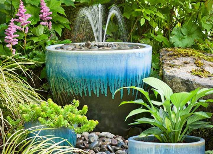 for an almost instant homemade fountain insert an inexpensive rh pinterest com